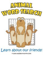 Animal Word Search Puzzle Thumbnail