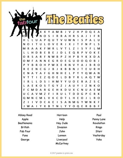 Beatles Word Search