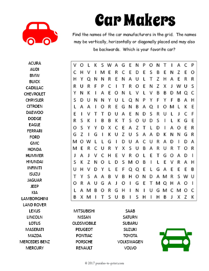 Car Makers Word Search