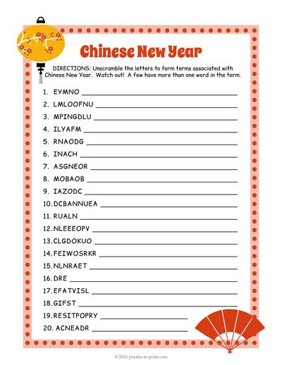 Chinese New Year Word Scramble