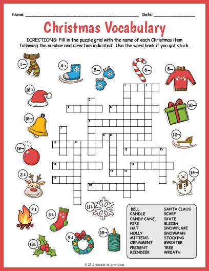 image regarding Christmas Sudoku Printable called Xmas Vocabulary Picture Crossword