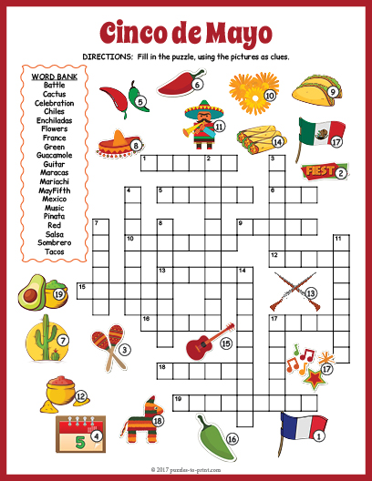 Cinco De Mayo Crossword on Easter Worksheet
