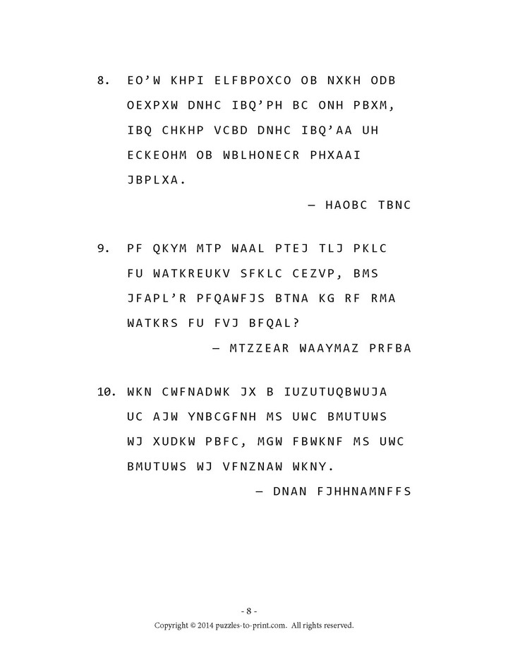 This is page 3 of the five pages of free cryptograms from our new