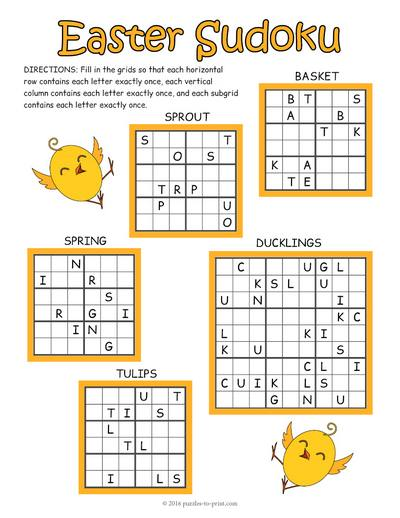 Easter Sudoku Puzzle Worksheet