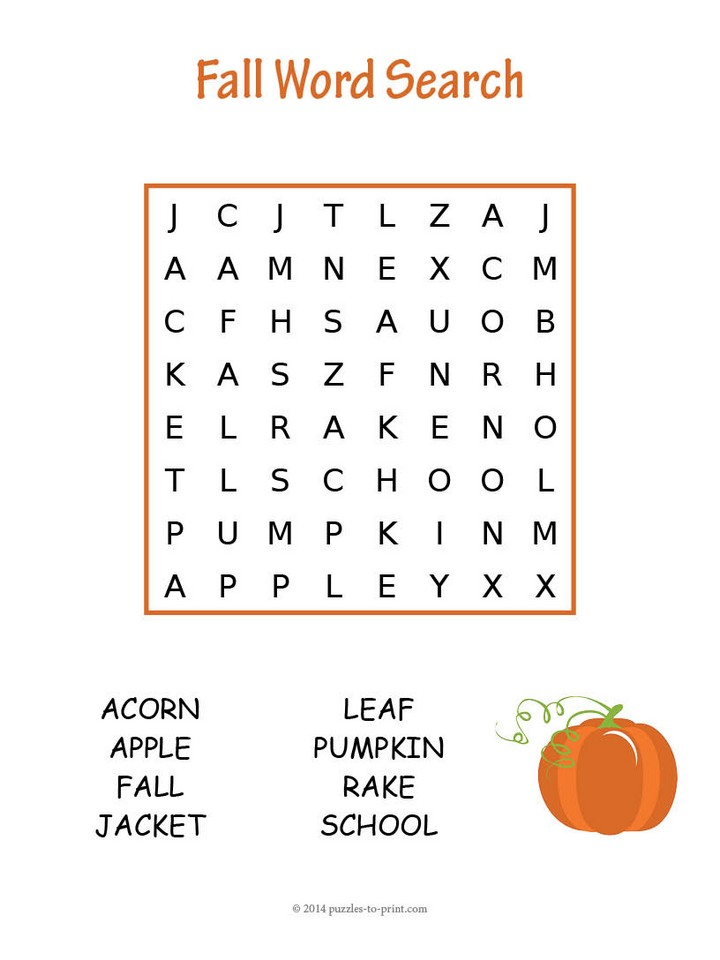 more childrens puzzles fall word search - Picture Search For Kids