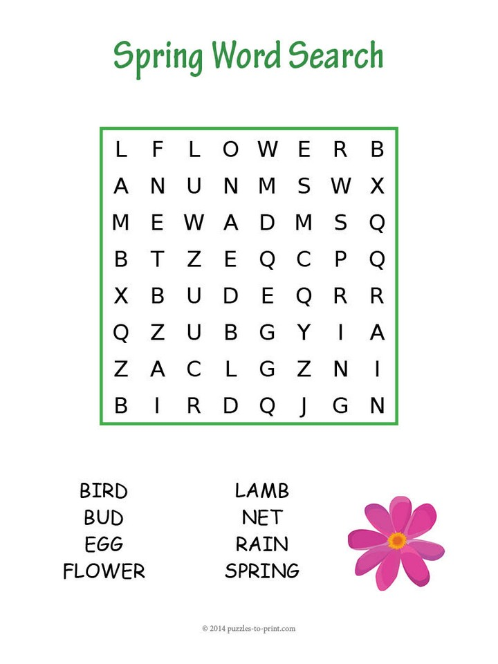 image regarding Free Printable Spring Word Search identify Basic Spring Phrase Seem