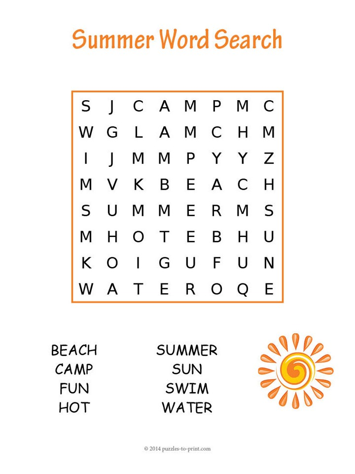 Easy Summer Word Search