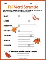Fall Word Scramble