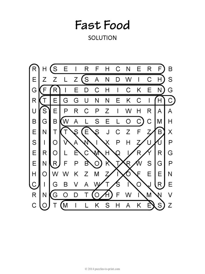 Halloween Crossword Puzzles Fast Food Word Search