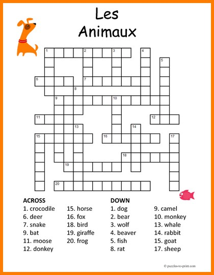 photo relating to Animal Word Search Printable titled French Animal Vocabulary Crossword Puzzle
