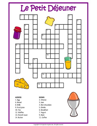 french breakfast crossword printable vocabulary builder. Black Bedroom Furniture Sets. Home Design Ideas
