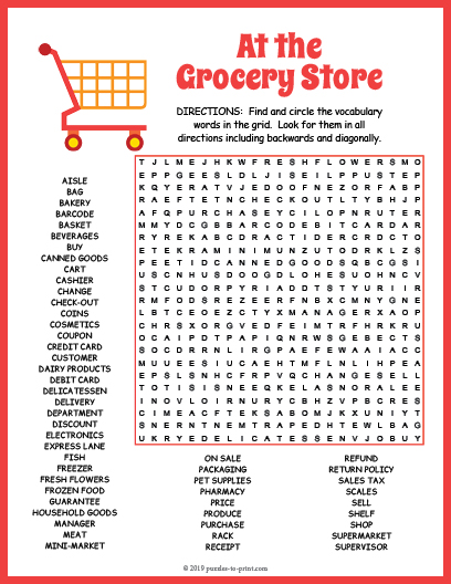 grocery store word search