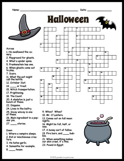 photo relating to Hard Printable Crosswords called Halloween Crossword