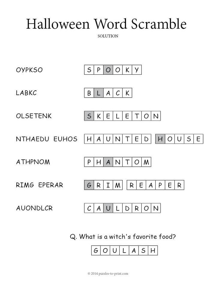 print solution halloween word scramble