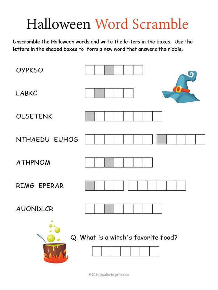 Printables Scramble Words And Answers word scrambles printable puzzles halloween scramble