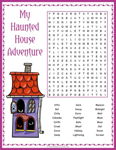 Haunted house word search Find a house
