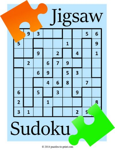 photograph relating to Printable Sudoku Pdf called Printable Jigsaw Sudoku