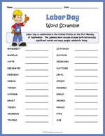 graphic regarding Labor Day Word Search Printable named Phrase Scrambles - Printable Puzzles