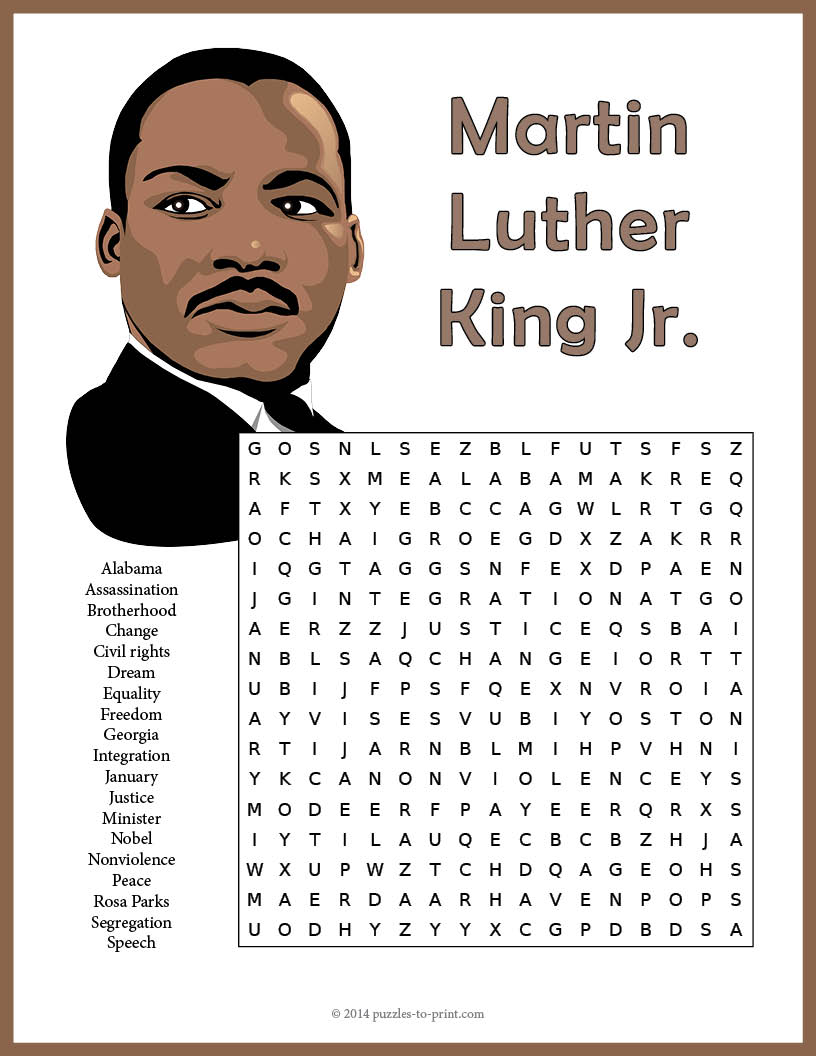 graphic relating to Martin Luther King Word Search Printable referred to as Martin Luther King Jr. Phrase Appear