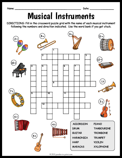 image about Music Puzzles Printable named Musical Equipment Crossword