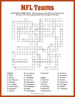 NFL Teams Crossword