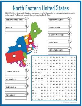 north eastern US geography puzzle worksheet