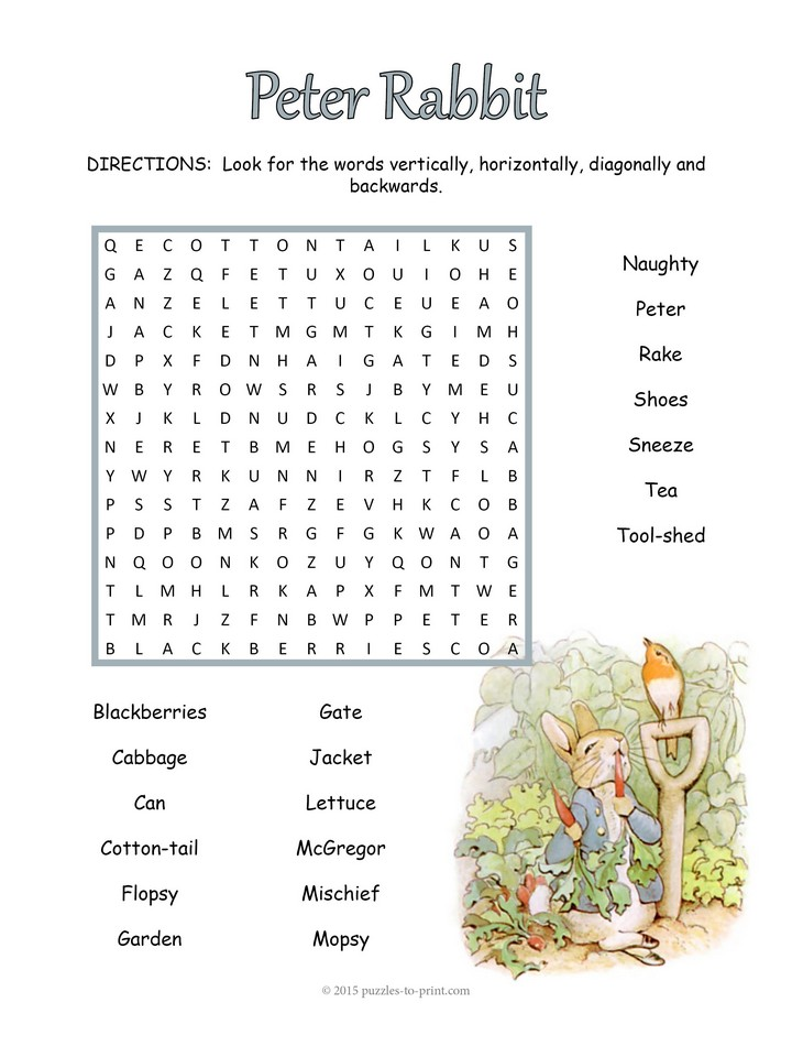 Peter Rabbit Word Search