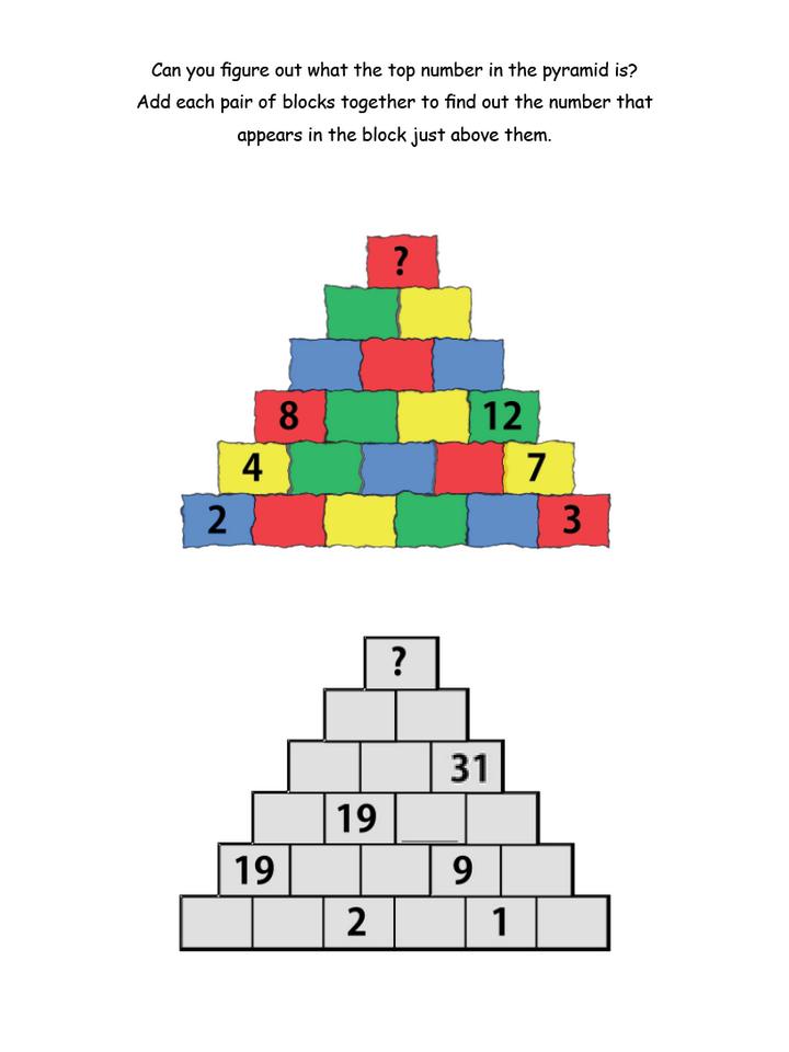 math worksheet : pyramid addition brain teasers : Addition Pyramid Worksheet