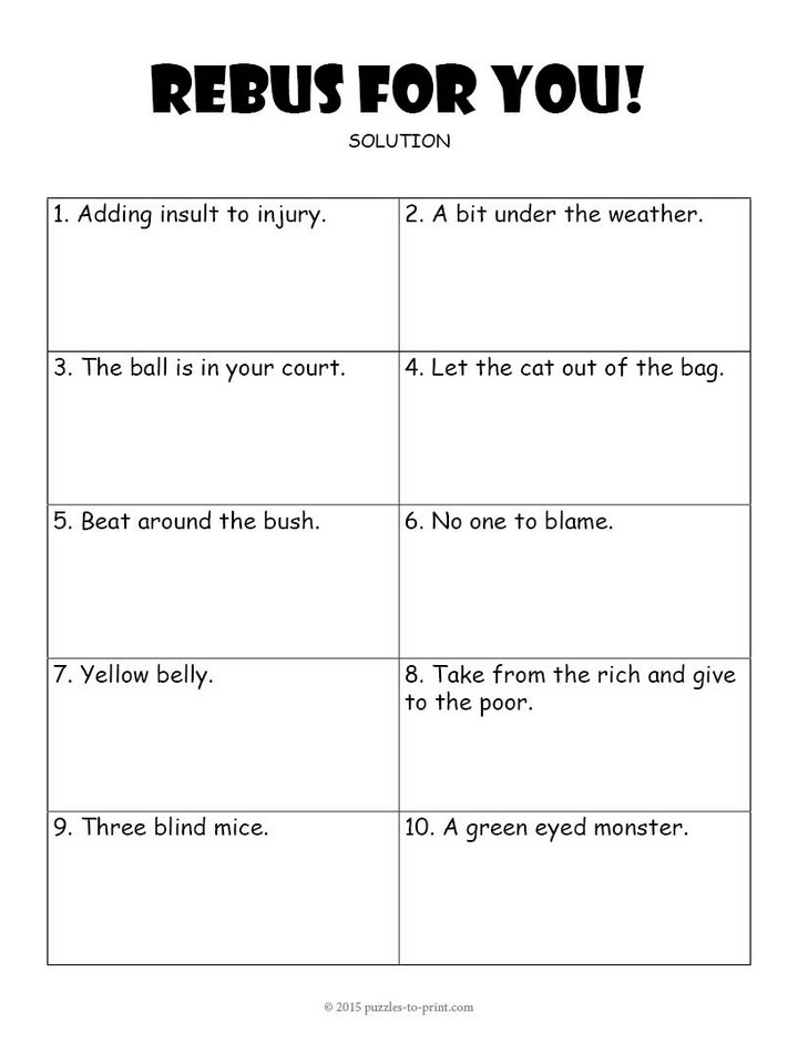 more fun puzzles rebus worksheet 1 rebus worksheet 2 cryptogram book ...