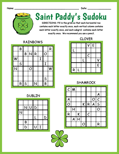 photograph about St Patrick's Day Crossword Puzzle Printable identify Saint Patricks Working day Sudoku