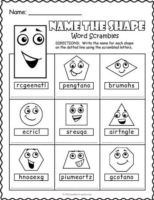 Shapes Word Scramble Worksheet