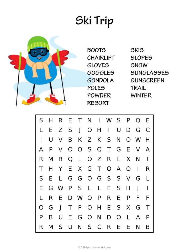 Ski Trip Word Search