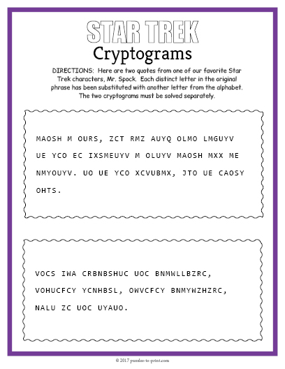 photograph regarding Printable Cryptogram Puzzles called Absolutely free printable celeb cipher puzzles