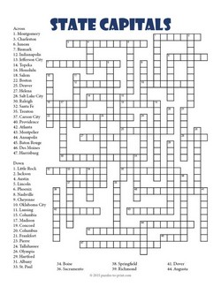 State Capitals Crossword on long list