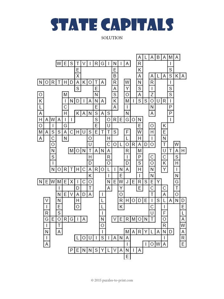 State Capitals Crossword Print Puzzle Solution