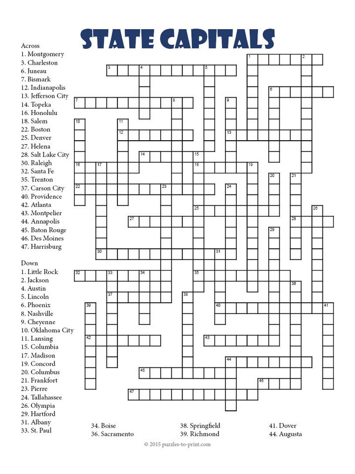 State Capitals Crossword