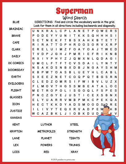 image relating to Daily Word Search Printable called Superman Phrase Glimpse Puzzle