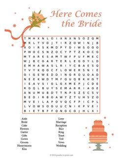 Wedding Word Search